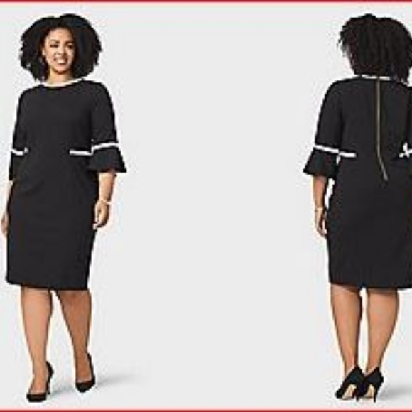 dbbba0237857c1 Calvin Klein Dresses   Skirts - Plus Size Piped Bell-Sleeve Dress Calvin  Klein